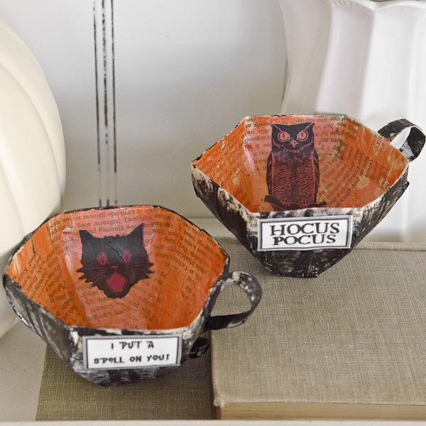 Paper Mache' Halloween Tea Cups