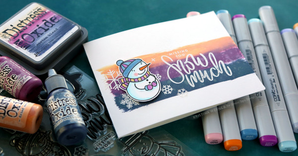 Snowman Card with Custom Ink Pad Background