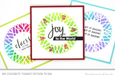 Colorful Stenciled Wreath Cards