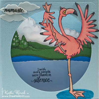Diorama Flamingo Card
