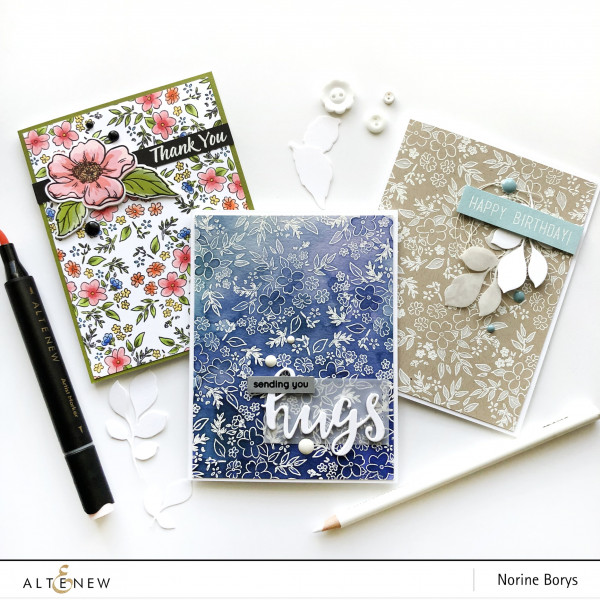Large Floral Stamp Used Three Ways
