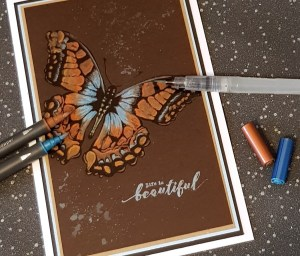 Butterfly Card with Metallic Water Coloring