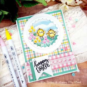 Easter Chicks Card with Reverse Stamping