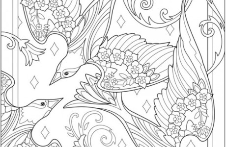 Six Birds and Blossoms Coloring Pages