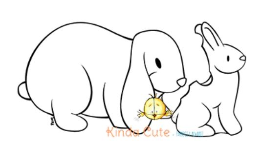Easter Rabbits Digital Stamps