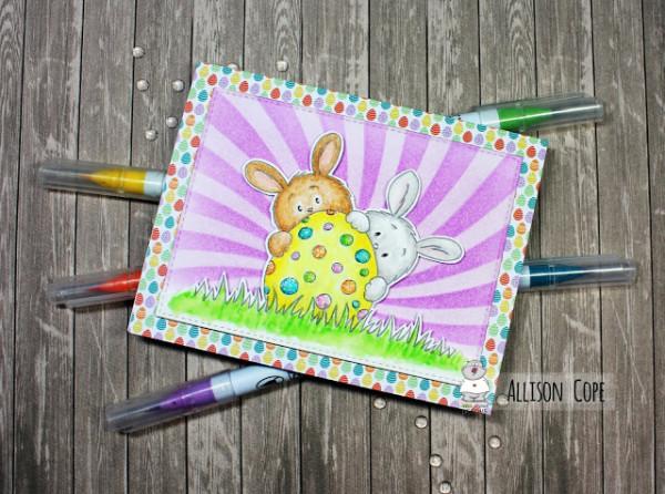 Easter Bunnies Digital Stamp