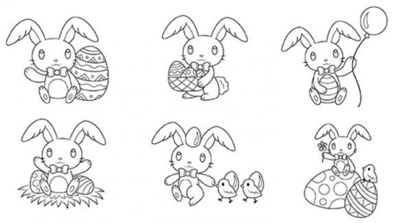 12 Easter Bunny Digital Stamps