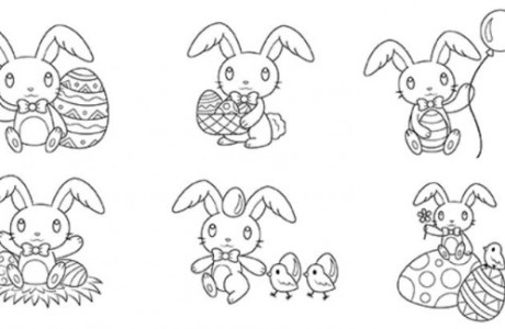 12 Easter Bunny Digital Stamps