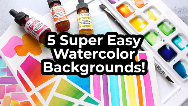 5 Simple Watercolor Card Backgrounds