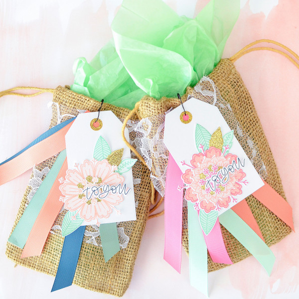 Floral and Burlap Gift Bags