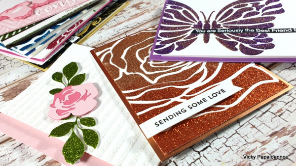 11 Cards with Glitter Paint