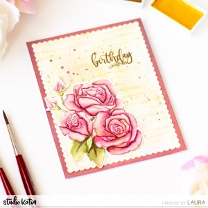 Roses Card with No-Line Coloring