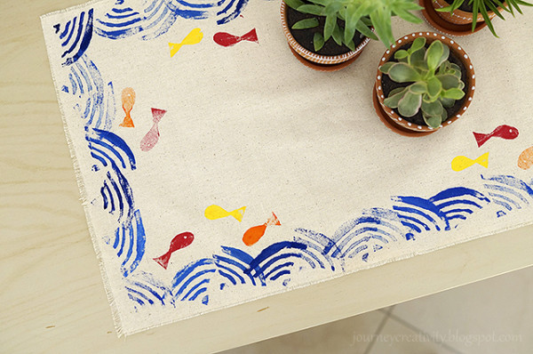 Linoleum Stamped Table Runner