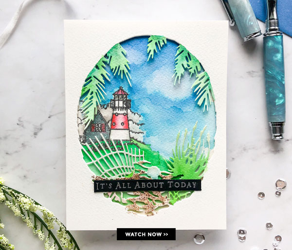 Watercolor Lighthouse Card with New Inks