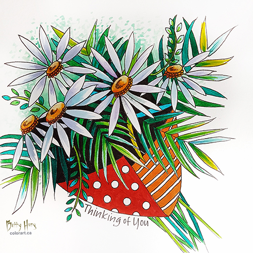 Daisy Bouquet Color Card Download