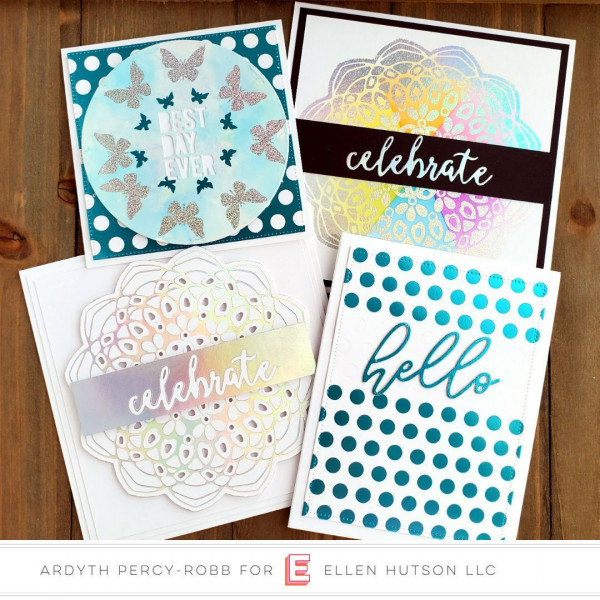 4 Foiled Cards using the Gemini Foil Press