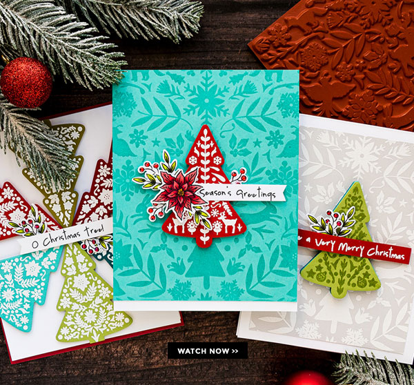1 Stamp Set, 3 Ways - Nordic Christmas Tree Cards
