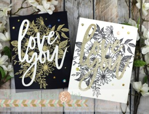 Black, White and Gold Valentine Cards
