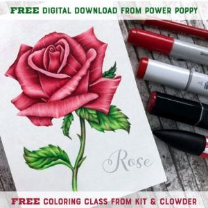 Free Rose Digital Stamp & Free Coloring Class
