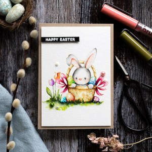 Easter Bunny Watercolor Card