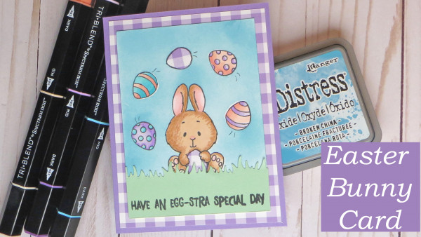 Easter Bunny Juggling Eggs Card