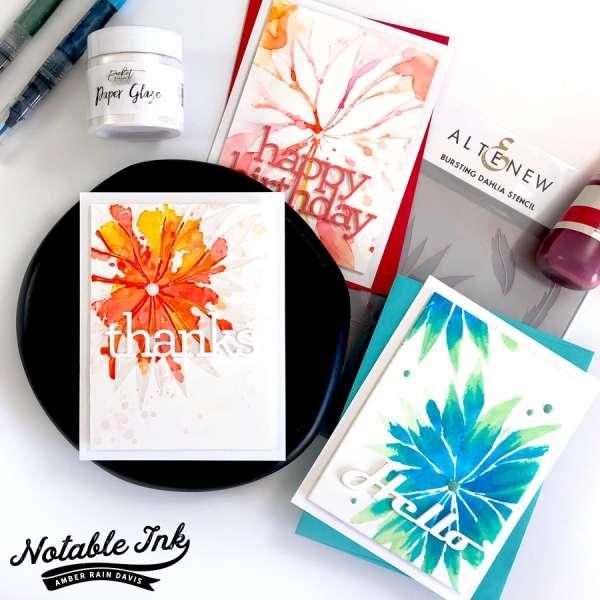 1 Stencil, 3 Card Techniques