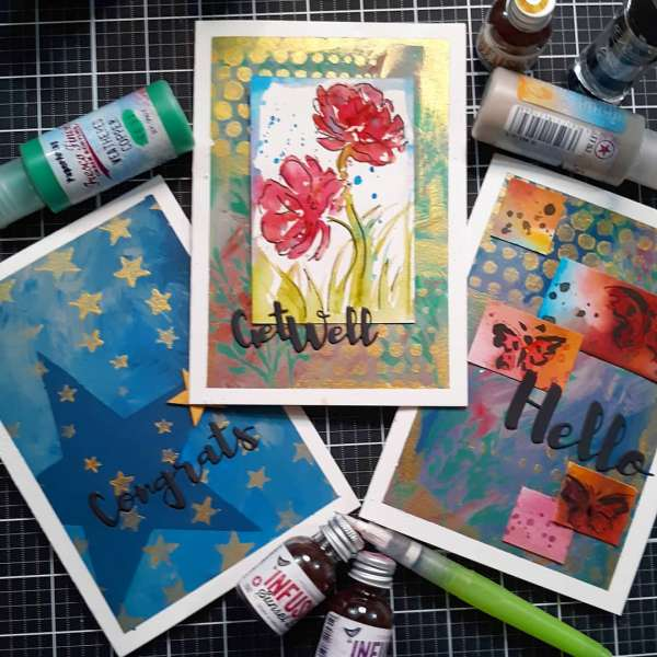 Stenciled Mixed Media Cards