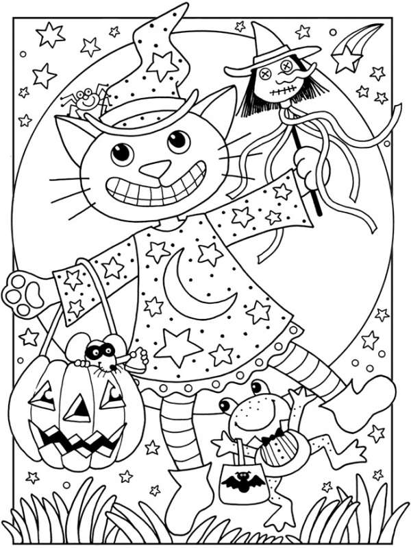 4 Cute Halloween Coloring Pages