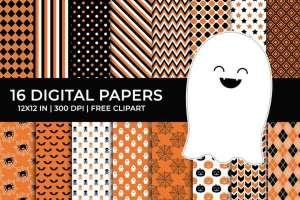 16 Halloween Digital Pattern Papers