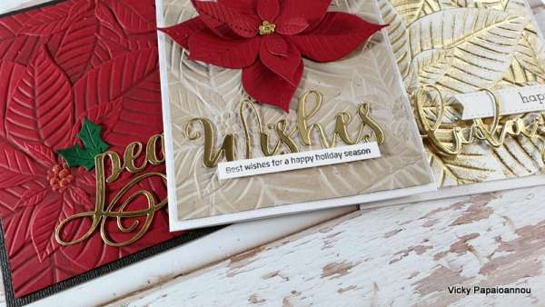 3 Poinsettia Cards with 1 Folder