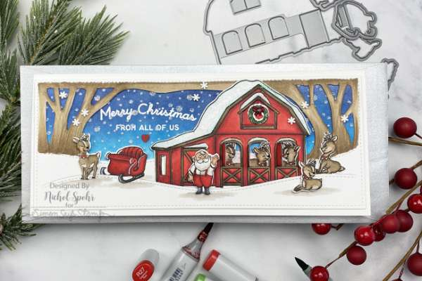 Reindeer Barn Christmas Card