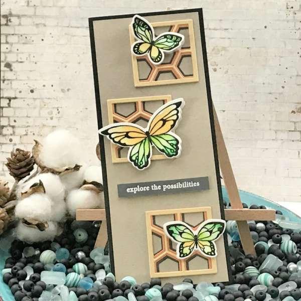 Butterflies on Honeycomb Slimline Card