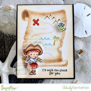 Pirate Girl Card with Stencil Background