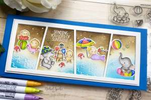 Critters on the Beach Slimline Card