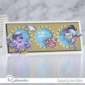 Pirate Ocean Animals Slimline Card