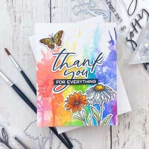Rainbow Splash Floral Card