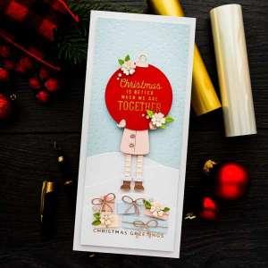 Christmas Girl Slimline Card