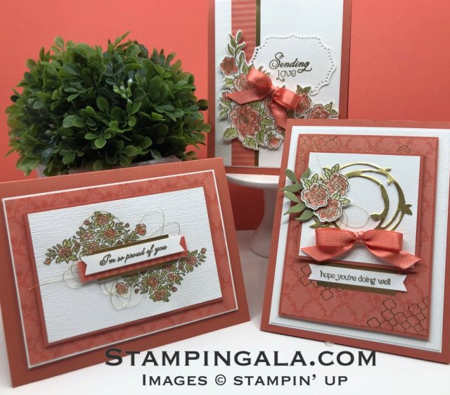 Facebook Live on Stampin' Gala Stampers Group, Climbing Roses Bundle, Gold Heat Embossing, #Stampin' Up, #Stampin' Gala, #Stamp-A-Stack, #Class to Go