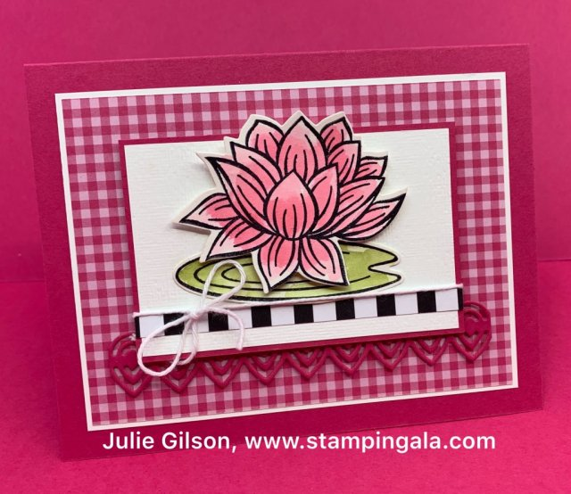 All occasion cards and treat box using Stampin' Up's! Lovely Pad stamp set and dies. #Stampin' Up, #Stampin' Gala, #Lovely Lily Pad, #Birthday Card