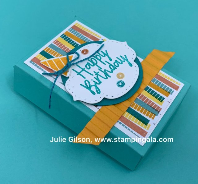 Shaker card, 3 X 3 card, & treat holder made with Stampin' Up's Birthday Bonanza Bundle. #Stampin' Up, #Stampin' Gala, #Birthday, #Kid's cards, #Children's Cards