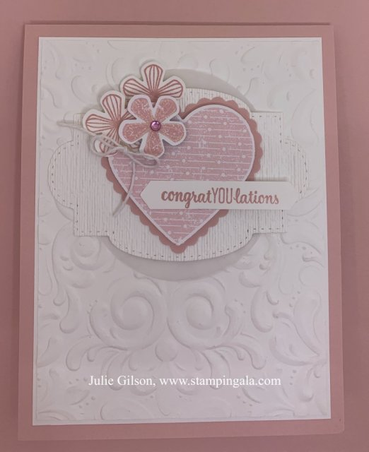 Congratulations card using the Thoughtful Blooms stamp set and the Pleased as Punch DSP.