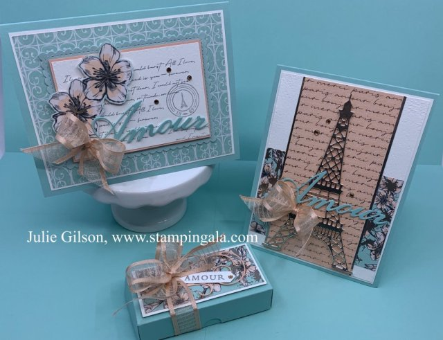 Greeting cards and treat holder using the Parisian Beauty Bundle.  #Stampin' Up, #Stampin' Gala, #Paper crafts, #3-D, #Crafts