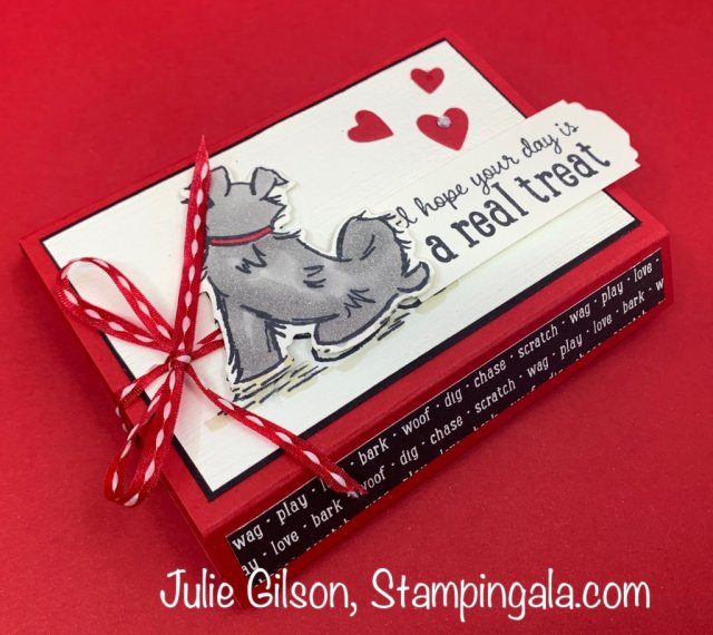 Pampered Pets Trio of projects created with Stampin' Up's Pampered Pets Bundle. Greeting cards and a treat holder. #Stampin' Up, #Stampin' Gala, Kid's Birthday, #Children's Birthday