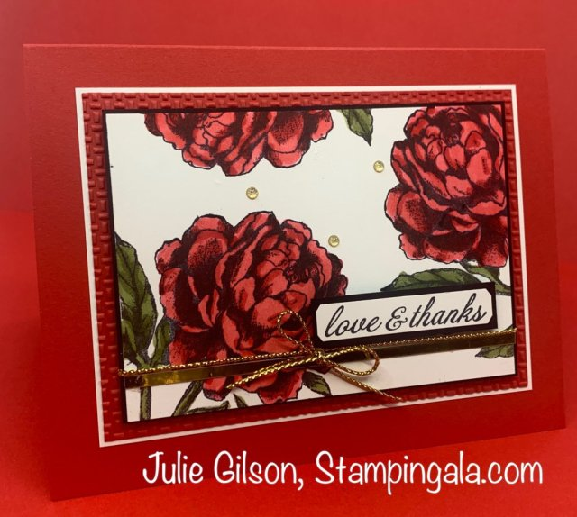 Thank you card using the Prized Peony Bundle from Stampin' Up. #Stampin' Gala, Stampin' Blends Markers