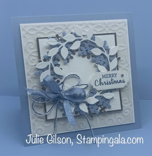 Christmas card created with the Arrange a Wreath Bundle. #Stampin' Up, #Stampin' Gala, #Handmade Cards