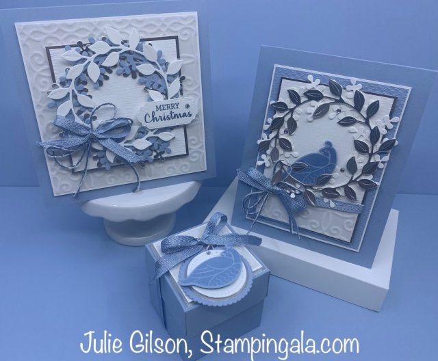 Christmas cards and gift box for Facebook Live, #Stampin' Up, #Stampin' Gala, #Wreath, #Christmas in July, #Handmade cards