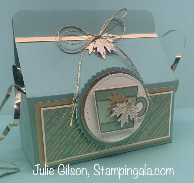 Coffee themed greeting cards and a k-cup treat holder created with the Press on stamp set. #Stampin' Up, #Stampin' Gala, #handmade cards, #3d papercrafts