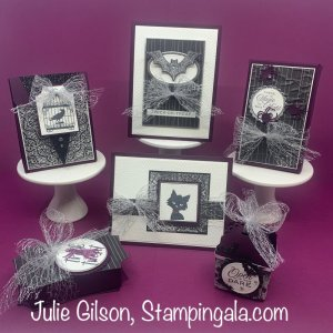 Halloween Class to Go featuring four treat holders and two greeting cards. #Stampin' Up, #Stampin' Gala, #Hallows Night Magic Bundle, #Ghoulish Goodies