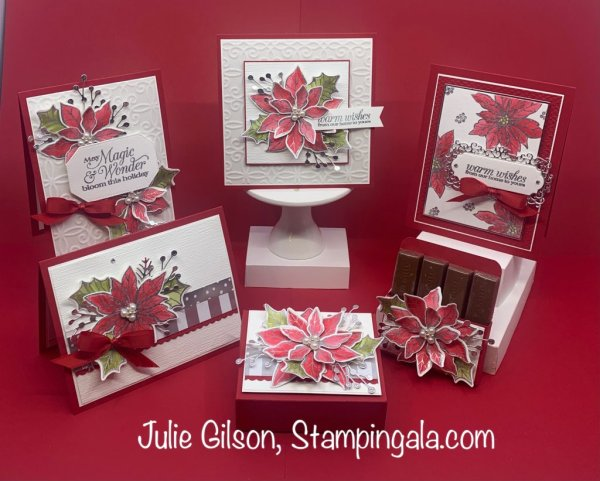Christmas cards and treat holders created with Stampin' Up's! Poinsettia Petals Bundle. #Class to Go, #Class by Mail, #Stampin' Gala, #Handmade cards