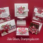 Christmas cards and treat holders created with Stampin